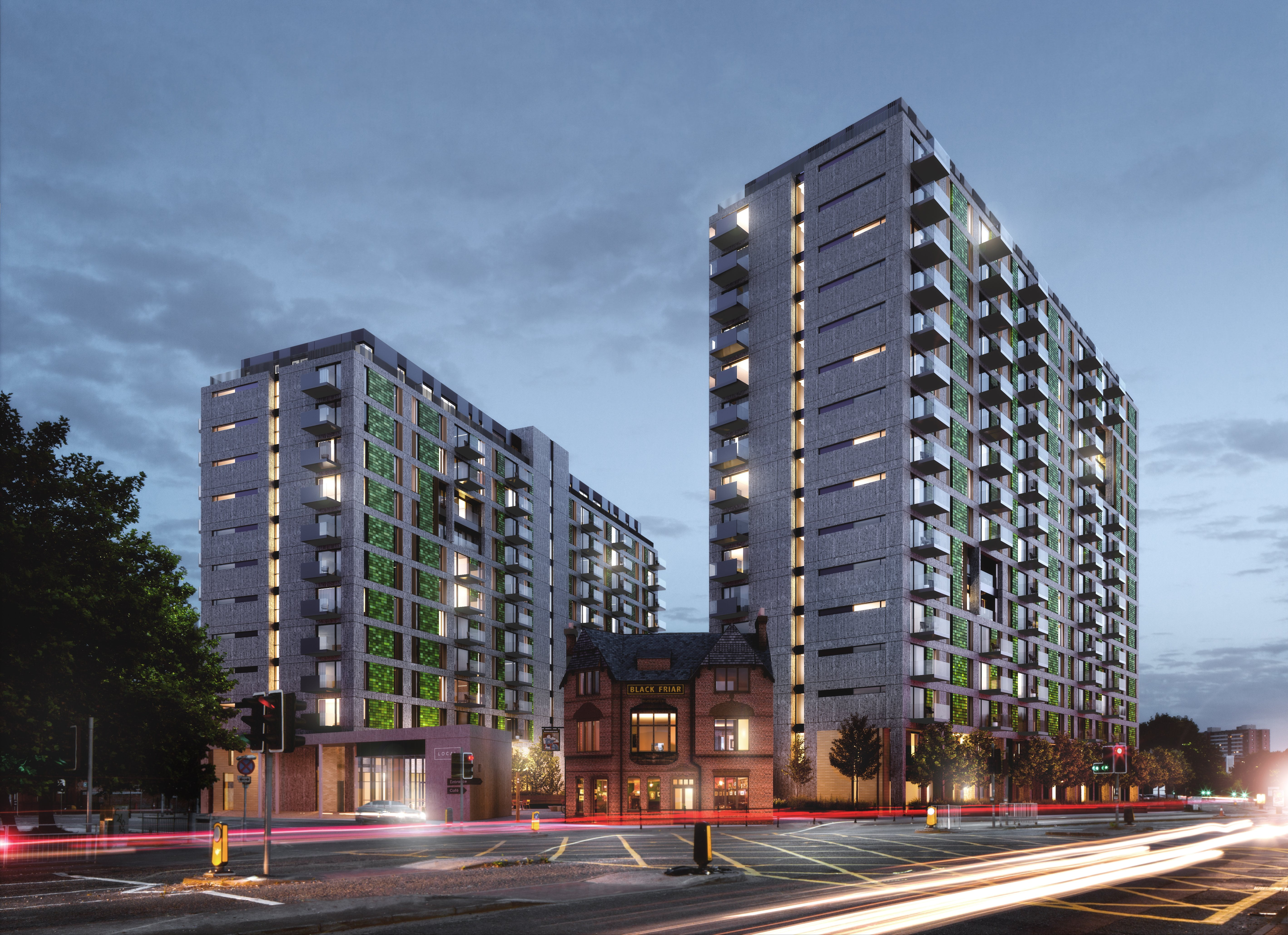 Exterior of the Local Blackfriars Development in Manchester